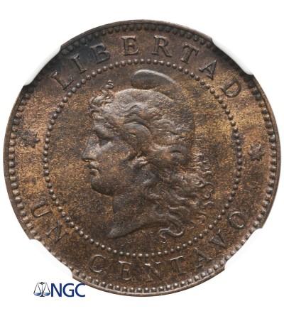 Argentyna 1 Centavo 1890 - NGC MS 62 BN
