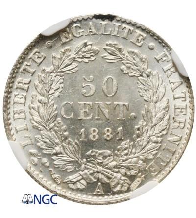 Francja 50 Centimes 1881 A - NGC MS 64