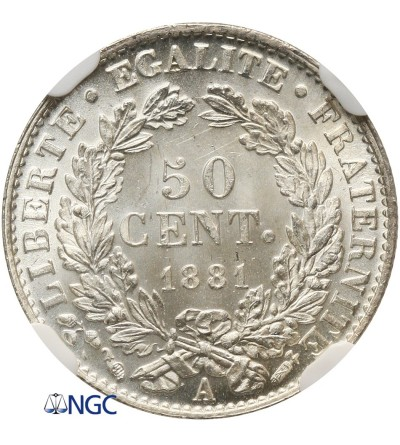 France 50 Centimes 1881 A - NGC MS 63+