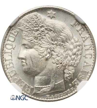 Francja 50 Centimes 1882 A - NGC MS 63+