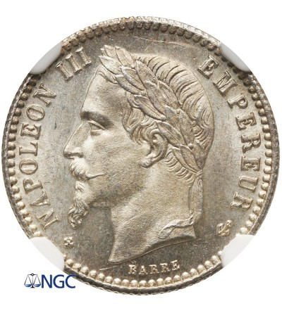 France 50 Centimes 1867 BB - NGC MS 64+