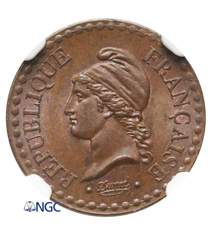Francja 1 Centime 1848 A - NGC MS 64 BN