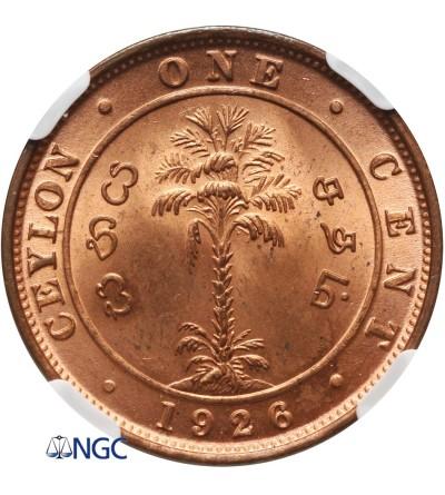 Cejlon 1 cent 1926 - NGC MS 63 RD