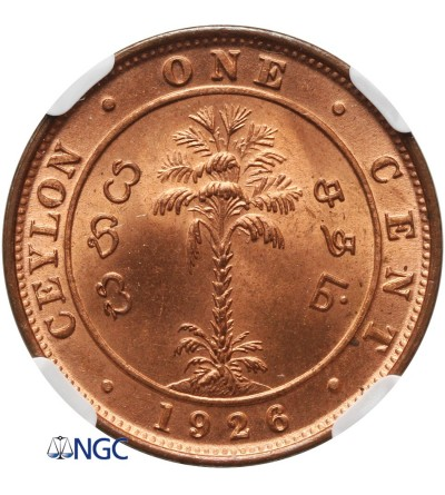 Cejlon 1 cent 1926 - NGC MS 65+ RD