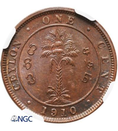 Cejlon 1 cent 1910 - NGC UNC Details