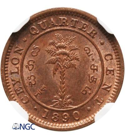 Cejlon 1/4 centa 1890 - NGC MS 64 BN