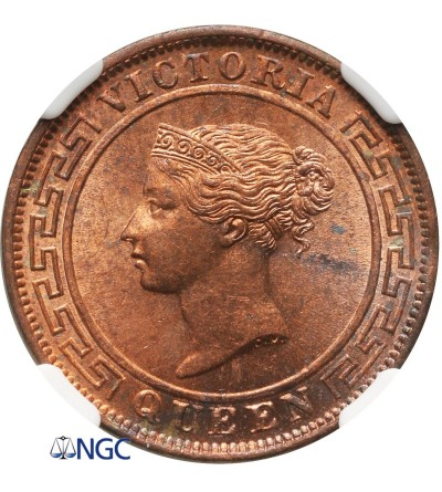 Cejlon 1 cent 1870 - NGC MS 64 RB