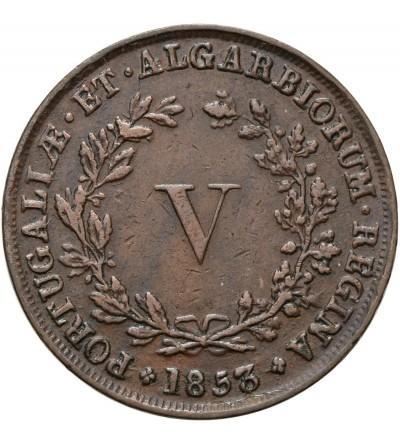 Portugalia 5 Reis 1853, bite do obrotu w Mozambiku