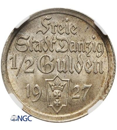 Wolne Miasto Gdańsk 1/2 guldena 1927 - NGC MS 62