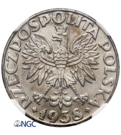 Poland 50 groszy 1938, Warsaw - NGC MS 62