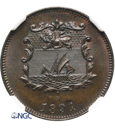 British North Borneo 1/2 Cent 1891 H, NGC MS 63 BN