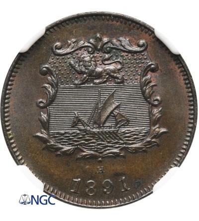 Brytyjskie Północne Borneo 1/2 centa 1891 H - NGC MS 63 BN