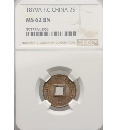 Francuski Wietnam 2 Sepeque 1879 A - NGC MS 62 BN