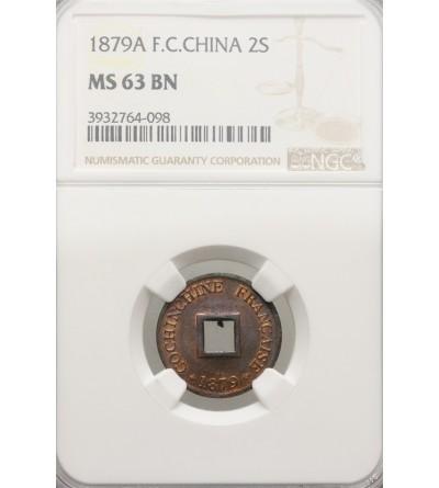 Francuski Wietnam 2 Sepeque 1879 A - NGC MS 63 BN