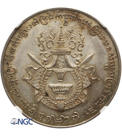 Kambodża medal koronacyjny Sisowath I 1905, NGC MS 63+