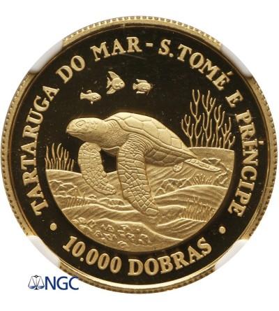 Wyspa Św. Tomasza 10000 Dobras 1992, żółw morski - NGC PF 69