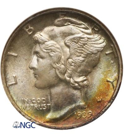 USA 10 centów 1939 D, Mercury Dime - NGC MS 66