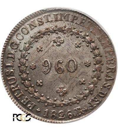 Brazylia 960 Reis 1826 R - PCGS MS 64
