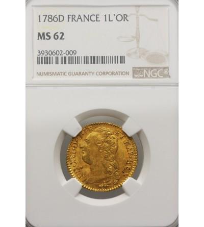 Francja 1 Louis d'or 1786 D, Lyon - NGC MS 62