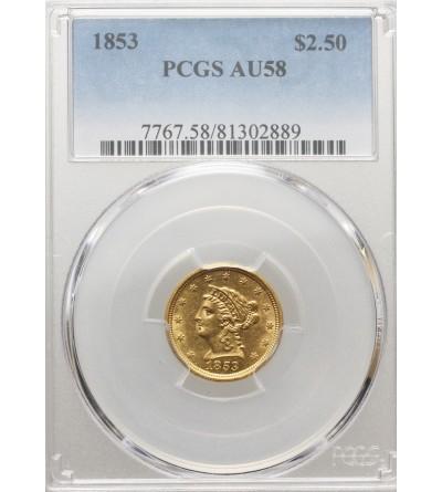 USA 2,5 dolara 1853, Coronet Head - PCGS AU 58