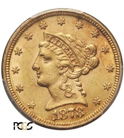 USA 2,5 dolara 1878, Coronet Head - PCGS AU 58