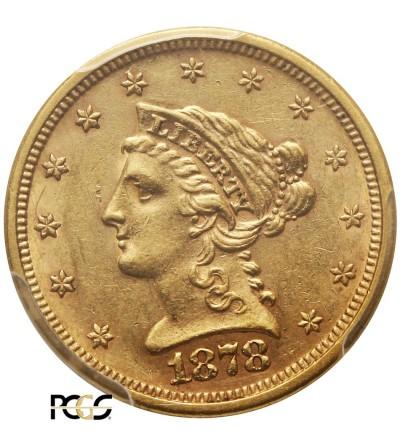 USA 2,5 Dollars 1878 S, San Francisco, Coronet Head - PCGS AU 58