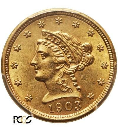 USA 2,5 dolara 1903, Coronet Head - PCGS AU 58
