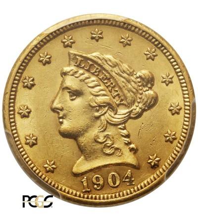 USA 2,5 dolara 1904, Coronet Head - PCGS AU 58