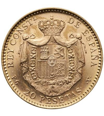 Hiszpania 20 pesetas 1887 PGV, nowe bicie z 1962 r.