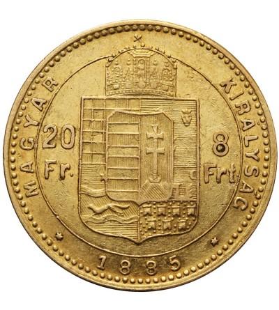 Węgry 20 franków / 8 forintów 1885