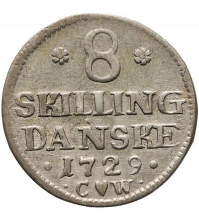 Dania  8 Skilling 1729 CW, Glückstadt