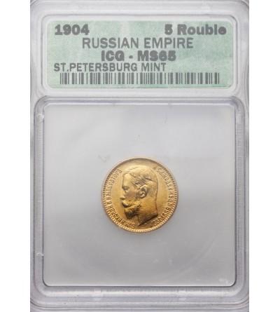 Rosja 5 rubli 1904 AP, Mikołaj II - ICG MS65