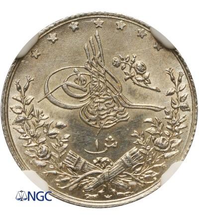Egipt 1 Qirsh AH 1293 W rok 10 / 1886 AD, Abdul Hamid - NGC MS 63