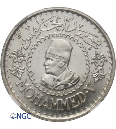 Maroko 500 franków AH 1376 / 1956 AD, Mohammed V - NGC MS 63