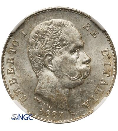 Italy Lira 1887 M, Milan - NGC MS 62