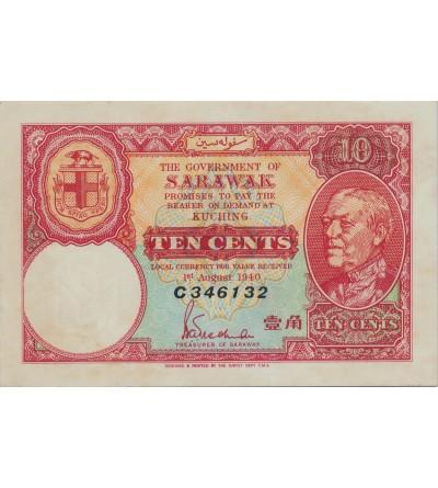 Sarawak 10 centów 1940 seria C, PMG 64
