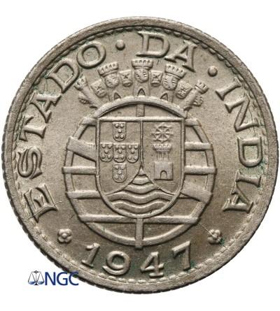 Indie Portugalskie 1/4 rupii 1947 - NGC MS 64