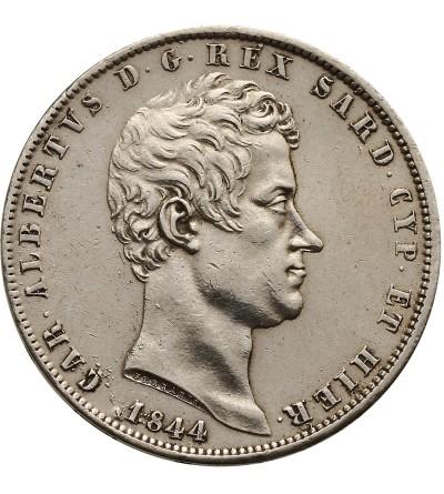 Włochy. Sardynia 5 Lire 1844 P