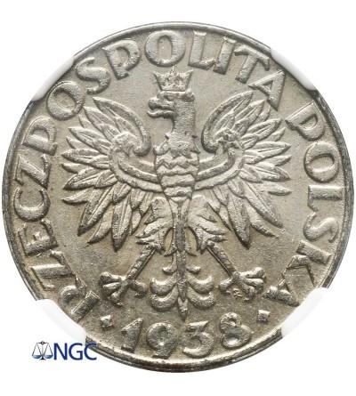Poland 50 Groszy 1938, Warsaw - NGC AU 58