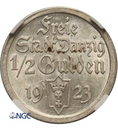 Wolne Miasto Gdańsk 1/2 guldena 1923 - NGC MS 62