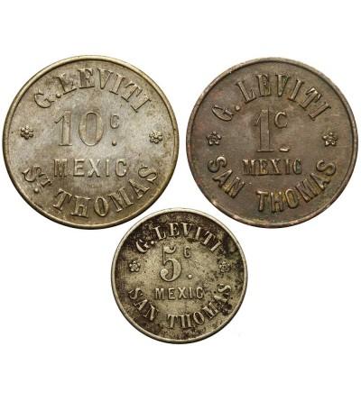 Tokens 1, 5, 10 Centavo 1880-1890 Danish West Indies G. Leviti San Thomas