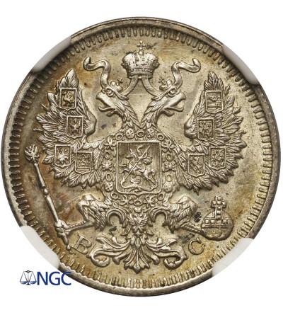 Rosja 20 kopiejek 1913 BC, St. Petersburg - NGC MS 62