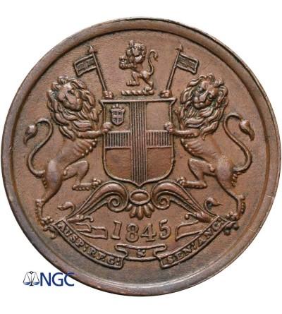 India British 1/2 Anna 1845 (c) - NGC AU 58