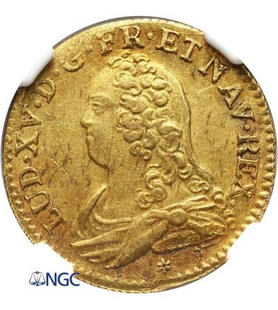 Francja 1 Louis D'or 1732/1 C, Caoen - NGC UNC Details