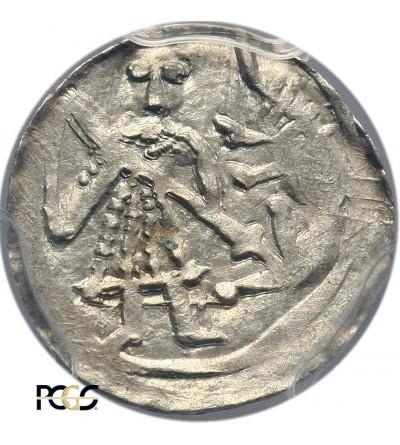 Polska. Bolesław III Krzywousty 1102-1138. Denar dez daty - PCGS MS 63