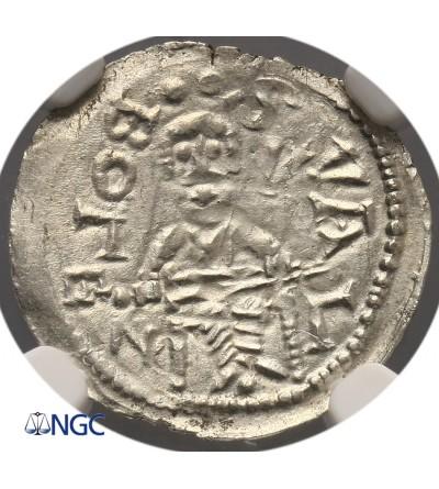 Polska. Bolesław IV Kędzierzawy 1146-1173. Denar bez daty, Kraków - NGC MS 63