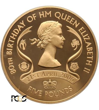 Guernsey 5 funtów 2006, 80 rocznica urodzin Elążbiety II - PCGS PR69 DCAM