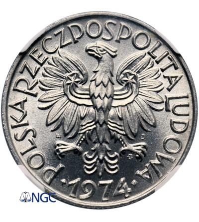 Polska 5 złotych 1974, rybak - NGC MS 64
