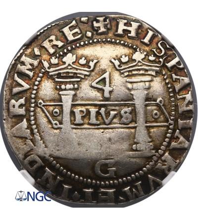 Meksyk 4 Reale bez daty (1538-1540) GM, Carlos and Johanna (1516-56) - NGC XF 45