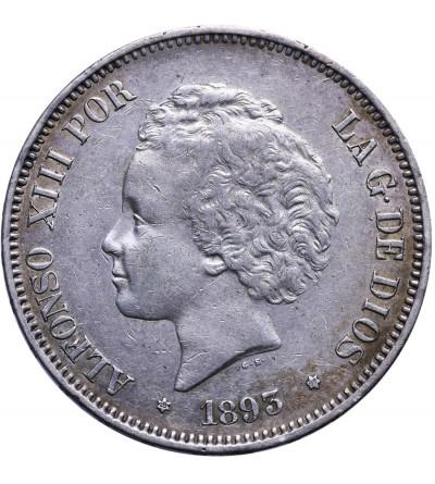 Spain 5 Pesetas 1893 (93) PG-L, Alfonso XIII